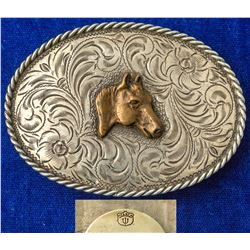 Horse Head Western Engraved Silver Belt Buckle
