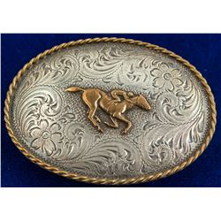 Jockey With Horse Vintage Belt Buckle