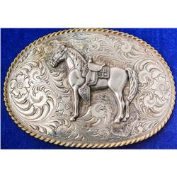 Lone Horse and Saddle Sterling Silver Western Buckle