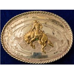 Men's Gold/Silver Cowboy Belt Buckle