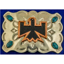 Native Bird Turquoise Studded Belt Buckle