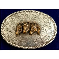 Roped border Horse Heads Oval Silver Belt Buckle