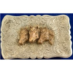 Scrolled Edges Three Horse Head Vintage Belt Buckle