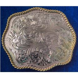 Shiny Detailed Western Silver Plated Belt Buckle
