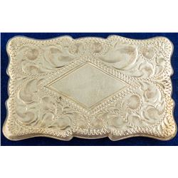 Silver diamond centered belt buckle