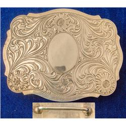 Silver Oval Western Etched Belt Buckle
