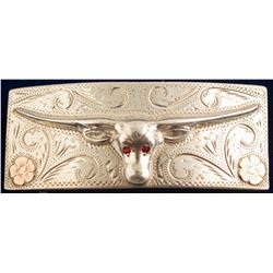 Steer Ruby Eyes with 10 K Gold Flowers Vintage Belt Buckle