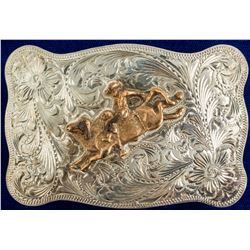 Sterling Bucking Bull Cowboy Belt Buckle