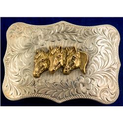 Sterling Silver Horse Head Belt Buckle