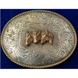 Three Gold Horses Western Belt Buckle