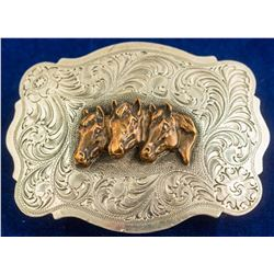 Three Horse Head Vintage Belt Buckle