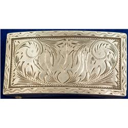 Vintage Etched Silver Belt Buckle