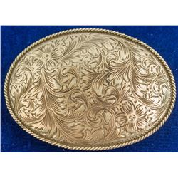 Vintage etched Western Belt Buckle