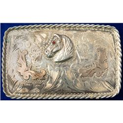 Western Belt Buckle Ruby Eye Horse Head