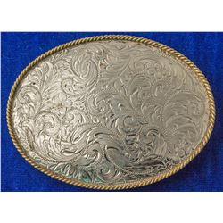 Western Floral Etched Belt Buckle
