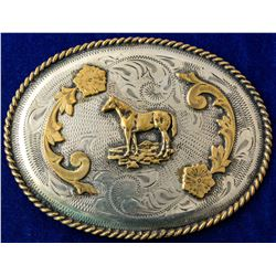 """Horse on the Plateau"" Silver Western Belt Buckle"