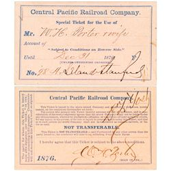 Central Pacific Railroad Pass Signed by Leland Stanford (1876)