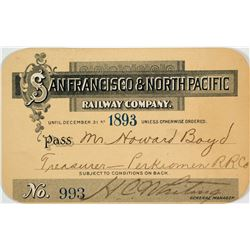 San Francisco & North Pacific Railway Annual Pass (1893)
