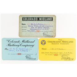 Colorado Midland Railway Company Annual Passes (1905, 1907, 1909)
