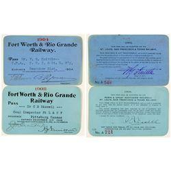 Fort Worth & Rio Grande Railway Annual Passes (1904 & 1908)