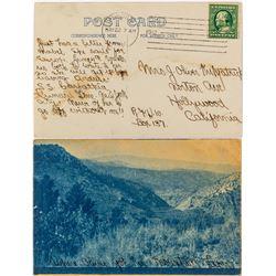 Aurora, Nevada Blue Cyanotype Post Card about Killing a Mountain Lion.