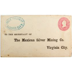 Strong Unused Carson City Blue Strike Addressed to The Mexican Silver Mining Company