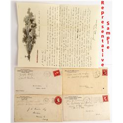 Four Nevada Covers with Contents Addressed to JS Cain of Bodie, California