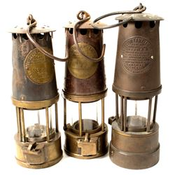Three Different Marsaut Style Safety Lamps