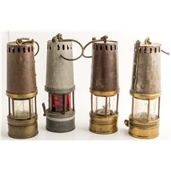 Four Mueseler Style Safety Lamps