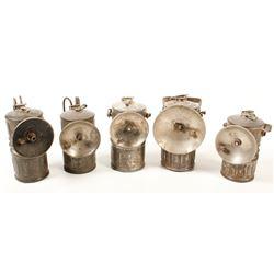 Five Acme Large Carbide Lamps
