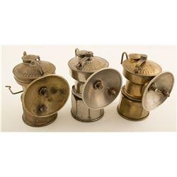 Three Ashmead Manufacturing Carbide Lamps