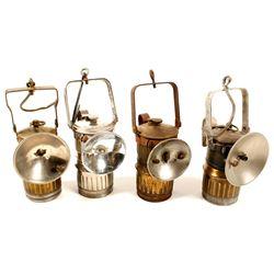 Four Big Boy Carbide Lamps