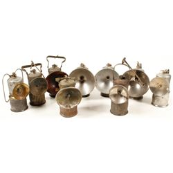 Nine Different Dewar Superintendent Style Carbide Lamps