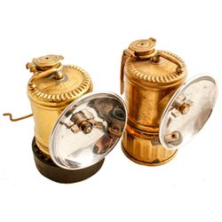 Two Vertical Upright Justrite Carbide Lamps
