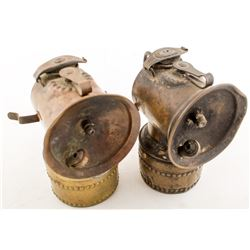 Two Early Lever-Feed Justrite Lamps