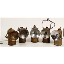 Five Justrite Superintendent-Style Carbide Lamps