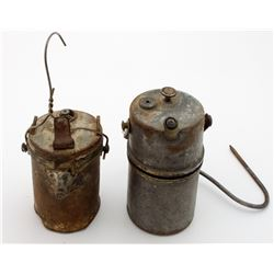 Two Wolf-style Superintendent Carbide Lamps