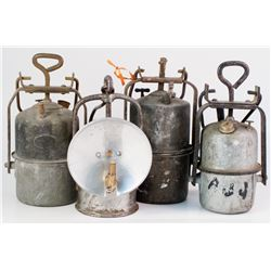 Four Larger Foreign Manufactured Carbide Lamps
