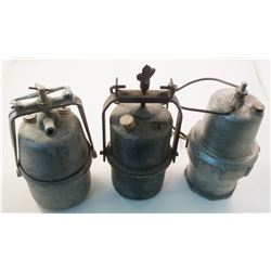 Three Large Carbide Lamps (Probably Foreign)