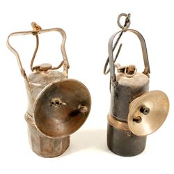 Two Unmarked Large Carbide Lamps