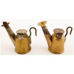 2 Different Copper J. Anton Oil Wick Lamps