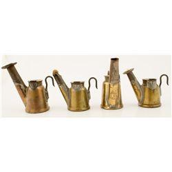 Four J. Anton & Son Brass Mining Lamps