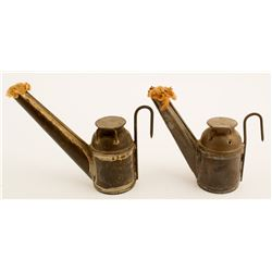 2 Different Bertels Son and Co. Oil Wick Lamp