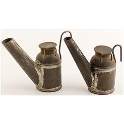 2 Different W. B. Bertels Oil Wick Lamps