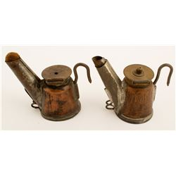 2 Different Copper Crown Oil Wick Lamps
