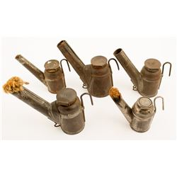 Five Different C. George Teapot Mining Lamps