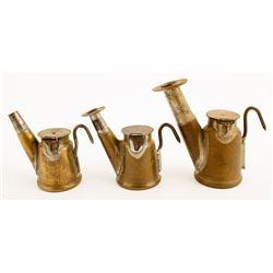 Three Grier Bros. Brass Teapot Lamps