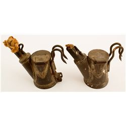 Unusual 2 Hook Knippenberg Oil Wick Lamps