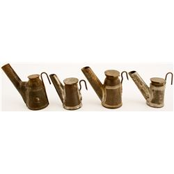 4 Different Trethaway Sloped Oil Wick Lamps