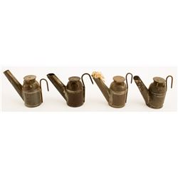 Four Unmarked Teapot Miners Lamps